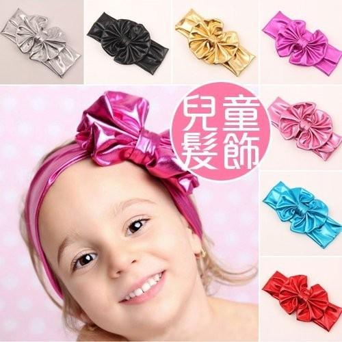 出清特賣 歐美周歲拍照頭飾 新款兒童髮圈 燙金金屬 大蝴蝶結