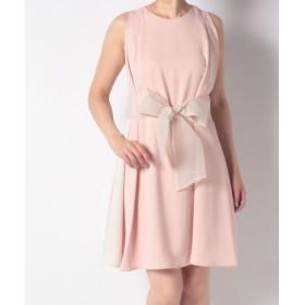 (Eimy Pearl by POWDER SUGAR/エイミーパール バイ パウダーシュガー)サイド配色サッシュリボン付きドレス/レディース ピンク