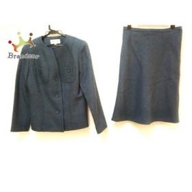 ハナエモリ スカートスーツ サイズ9A3 レディース 美品 ネイビー ノーカラー/肩パッド 新着 20190619