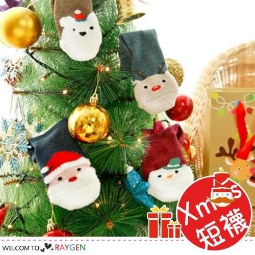 XMAS聖誕老人雪人卡通加厚毛圈短襪 寶寶襪【2Z994E277】