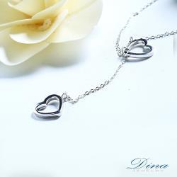 DINA JEWELRY蒂娜珠寶   心戀心系列 CZ鑽純銀項鍊 (DML71758)