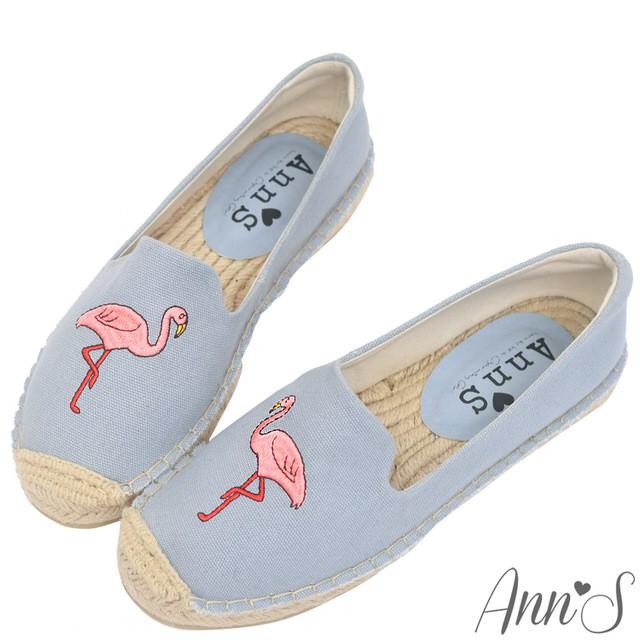 Ann'S  時髦紅鶴手繪刺繡草編鞋  灰藍