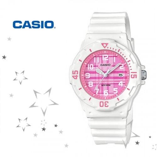 卡西歐CASIO外觀設計以潛水風格為概念的女性運動風錶款粉紅色LRW-200H-4B2 LRW-200H-4C粉紅格紋