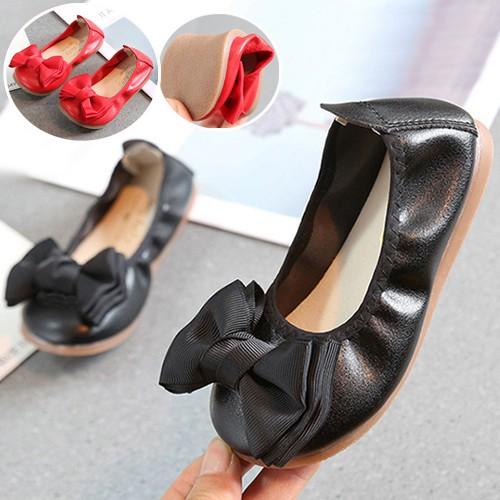 圓頭蝴蝶結蛋捲軟鞋 公主鞋 娃娃鞋 氣質婚禮 表演禮服 橘魔法現貨 兒童 童鞋 女童【p0061187461579】