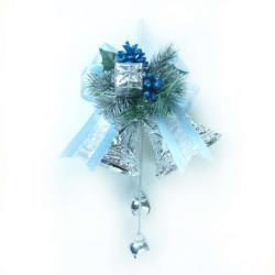 【摩達客】4吋雙花鐘吊飾-藍銀色