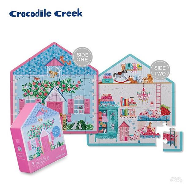 《美國Crocodile Creek》童話小屋雙面學習拼圖-娃娃小屋(24片)