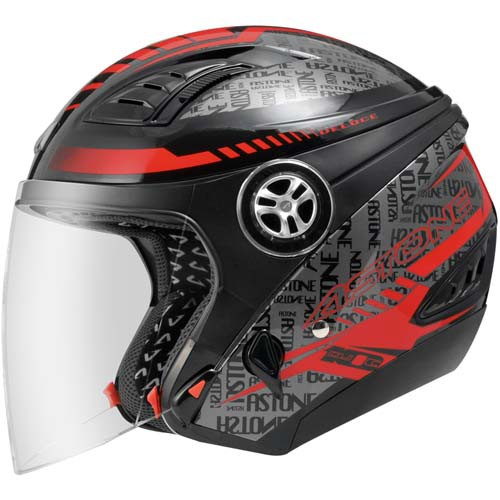 【ASTONE】DJ10C OO19 (黑紅) 3/4 半罩 安全帽 內藏墨片 內襯可拆洗 可加裝面具變全罩(面具另購)