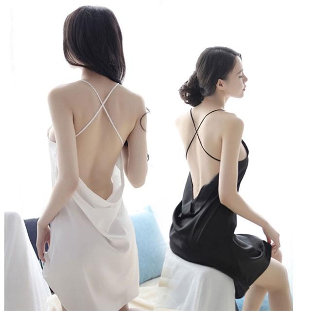 (共二色)仿真絲性感挖空露背吊帶睡裙套組SL06
