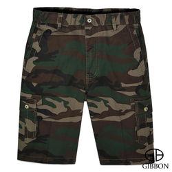 GIBBON 叢林迷彩彈力短褲‧咖啡綠M~3L