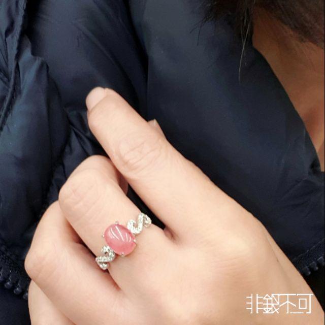 【非銀不可】天然 紅紋石(菱錳礦)純銀戒指