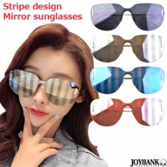 サングラス メガネ 眼鏡 ストライプ デザイン ミラー ワンレンズ ファッション パーティー イベント CK-197