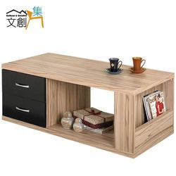 【文創集】妮莉思 4尺木紋色二抽大茶几