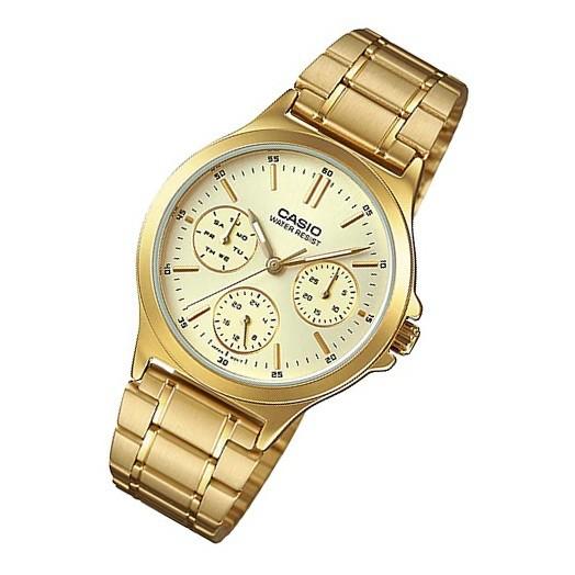 卡西歐CASIO外觀設計三針三眼石英指針金色女錶LRW-200H-4B2 LTP-V300G-9A