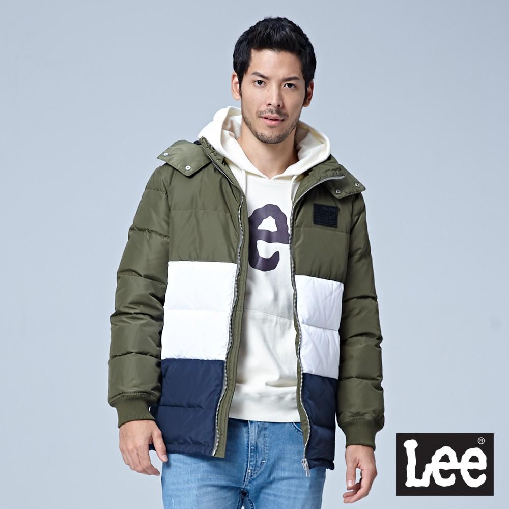 Lee 連帽羽絨外套 男 墨綠 色塊拼接 80%羽絨 20%羽毛 Mainline
