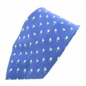 【中古】サルヴァトーレフェラガモ Salvatore Ferragamo ネクタイ レギュラータイ 鳥柄 シルク100% ネイビー メンズ