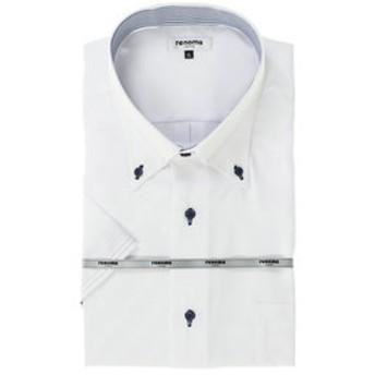 【GRAND-BACK:トップス】【大きいサイズ】レノマオム/renoma HOMME アイスカプセル形態安定ボタンダウン半袖ビジネスドレスシャツ