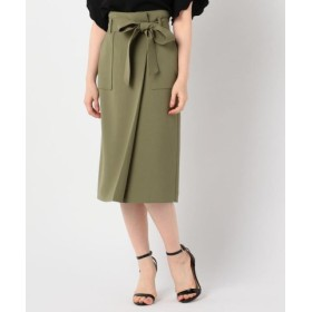 (NOLLEY'S/ノーリーズ)リボン付きラップ風スカート/レディース オリーブ