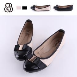 【88%】包鞋-MIT台灣製 豆豆鞋底 皮質拼接亮皮 金屬緞帶蝴蝶結 娃娃鞋 包鞋 OL通勤鞋