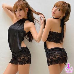 【Ayoka】炫黑綁脖蕾絲二件式迷你辣妹連身裙