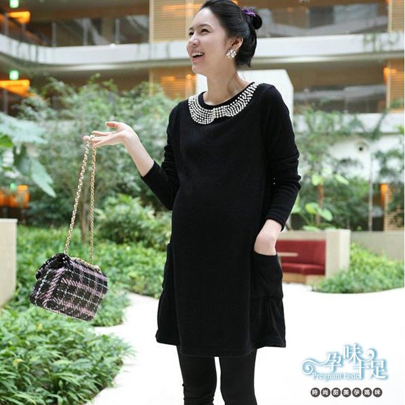優雅款素色圓領珠珠裝飾雙口袋孕婦洋裝 4色【CFAa9780】孕味十足