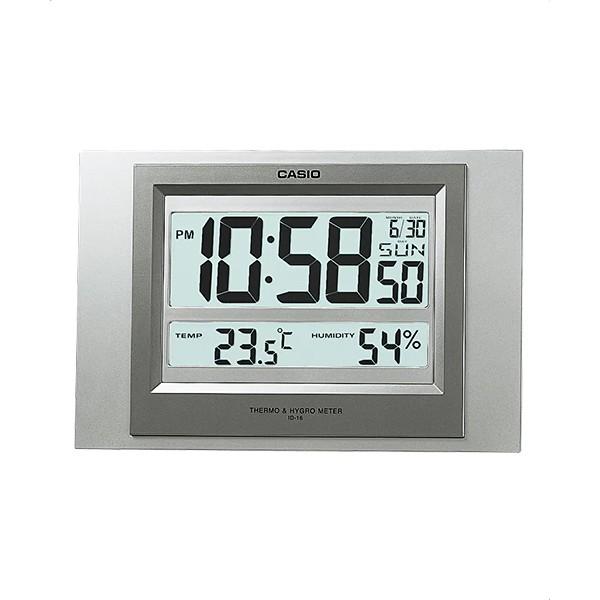 CASIO 卡西歐 數位溫度顯示掛鐘 座鐘兩用 灰 ID-16S-8