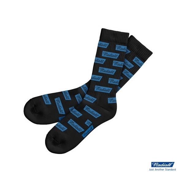GOODFORIT / 日本Radiall FLAGS LONG 2PAC SOX電腦提花滿版品牌藍標中筒襪