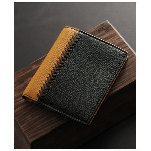 mieno [MiaBorsa]牛革レザーコンパクト二つ折り財布メンズ ブラック×キャメル