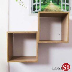 邏爵 LOGIS 木紋魔術口格子壁櫃壁架展示櫃 正方形兩入組B34-M