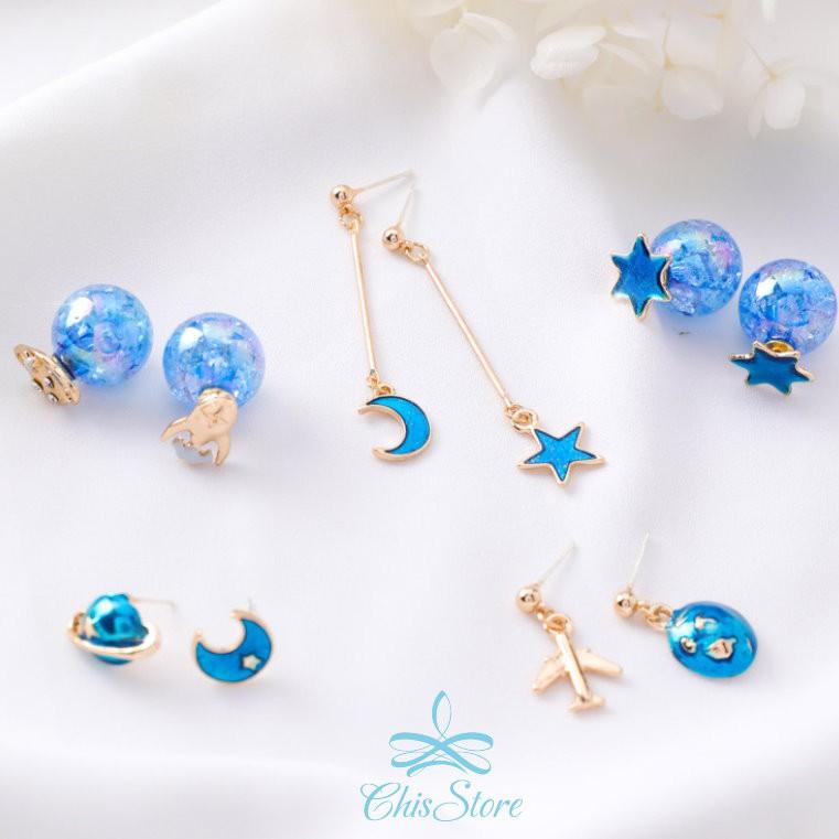 Chis Store【夢幻藍星空耳環】韓國耳針 夏日海洋 藍色 星星 月亮 飛機 小星球垂墜耳環 無耳洞耳環 耳夾式耳環