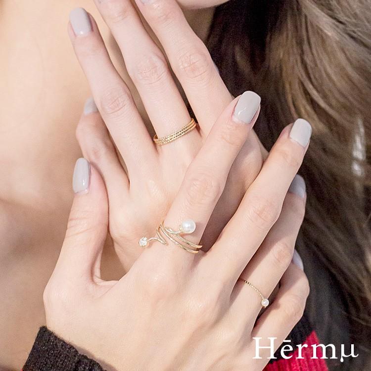 Hermu Accessories Hermu設計款-珍愛方向多層三件組戒指(2色)-08376