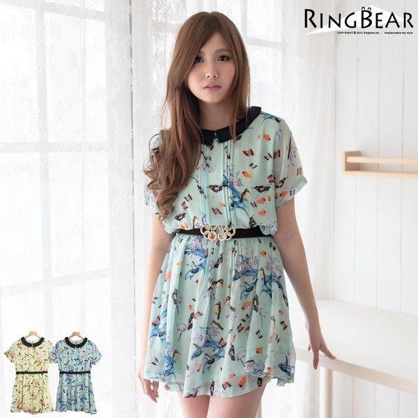 眼圈熊 中大尺碼 小清新滿版印花娃娃領前壓折雪紡綁帶洋裝(黃.綠XL-5L)-D336