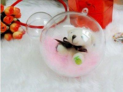 【微景小舖】創意 壓克力球8cm 空心圓球高透明聖誕球塑料PS環保 食品喜糖盒 永生花球 結婚用品 婚禮佈置 乾燥花