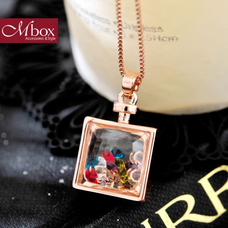 【Mbox項鍊 星彩心願- 玫瑰金色】採用人工水晶+合金