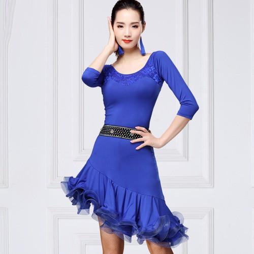5Cgo拉丁連衣裙圓領成人女舞蹈演出服裝立體網紗傾斜裙舞衣舞裙立體魚骨裙擺539607575575 可搭水鑽腰帶