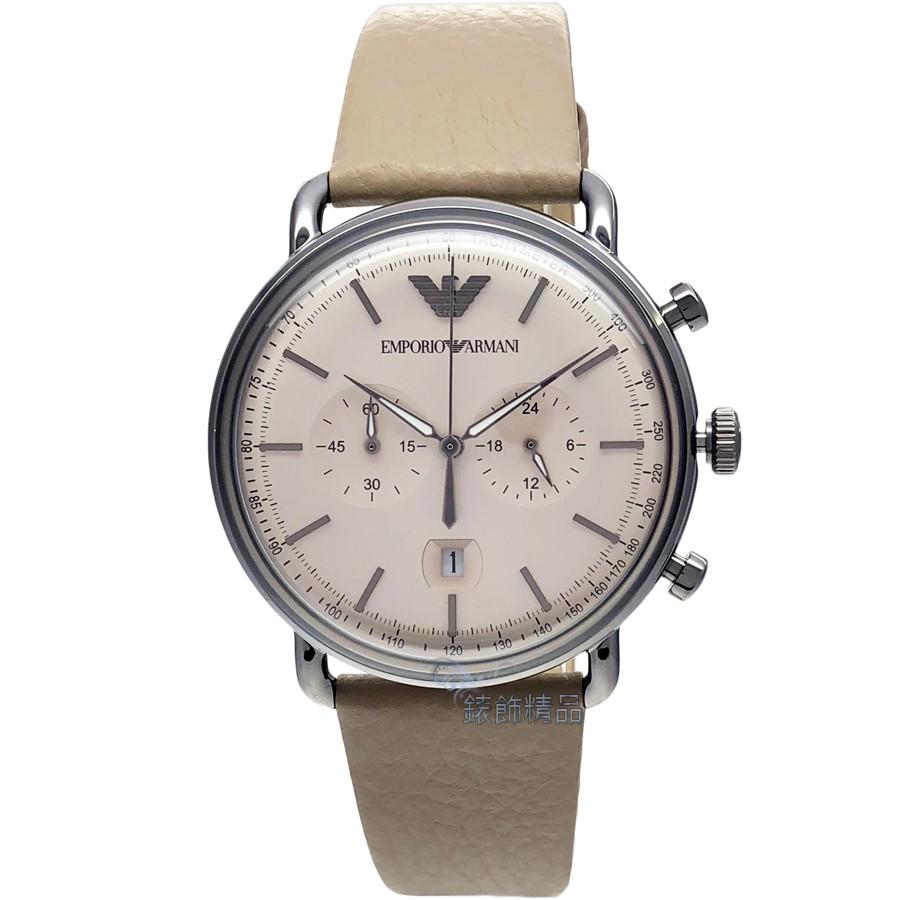 EMPORIO ARMANI 腕錶 AR11107 亞曼尼 手錶 復刻時尚 淺咖啡皮帶計時 男錶