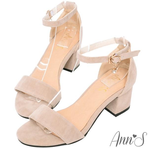 Ann'S 氣質女伶 側邊閃耀吊鑽極簡繫踝粗跟涼鞋