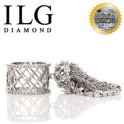 ILG鑽頂級八心八箭擬真鑽石戒指-綴入情迷款 RI089 鏤空尾戒