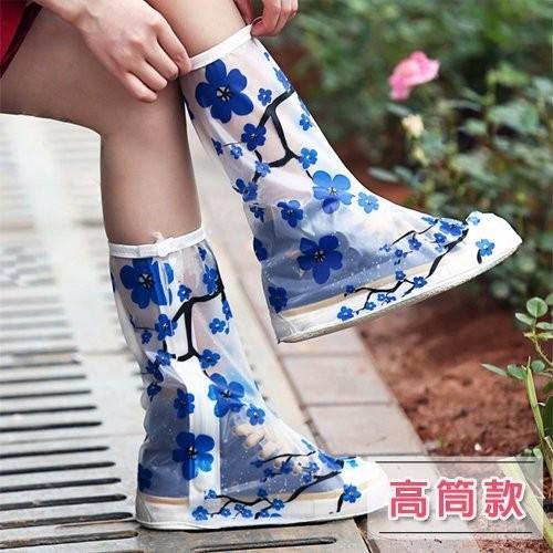 新款防雨鞋套男女加厚底雨鞋時尚防水鞋套 成人防滑下雨天雨靴套 高筒款 【2A290Y249】