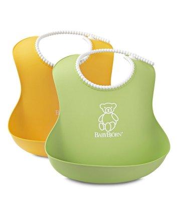 「送口罩」瑞典製正品 BabyBjorn Soft Bib 軟膠防碎屑圍兜(黃色綠色)