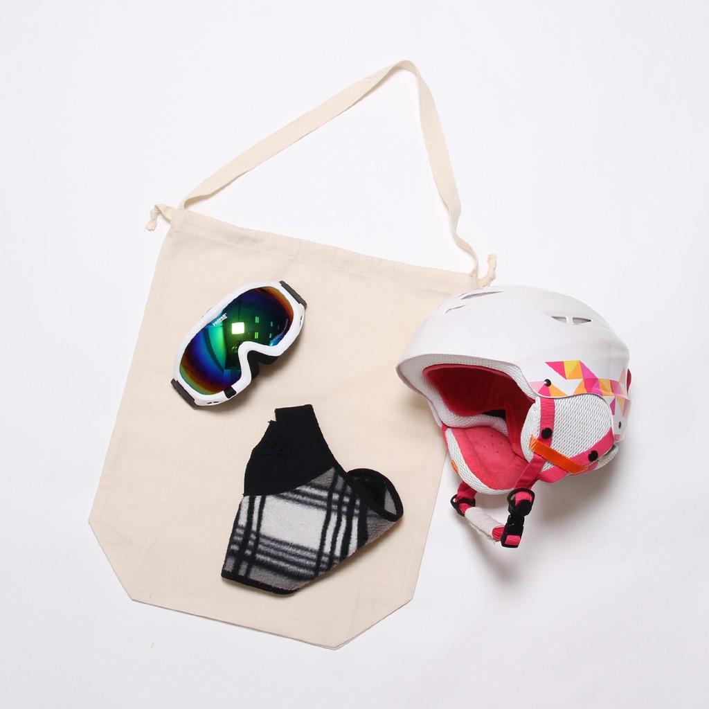 自製滑雪用品收納打包輕巧棉布袋 (可束口可提袋) 收納雪鞋雪鏡雪靴手套面罩安全帽