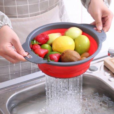 圓形矽膠折疊洗菜籃 (不挑色) SIN66529