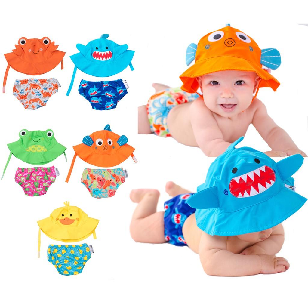 美國ZOOCCHiNi可愛動物尿布泳褲+遮陽帽/防曬帽-五款可選