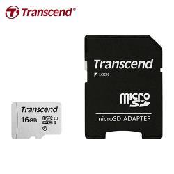 【Transcend 創見】TF microSDHC-300S 16G 記憶卡(銀卡附轉卡)