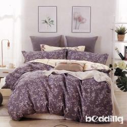 BEDDING-100%棉6尺加大雙人薄式床包三件組-花開思葉-咖