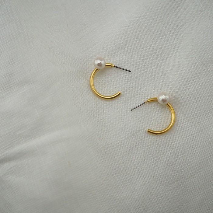 棉珍珠小圈 耳環 [正韓] 韓國連線【JKT028】