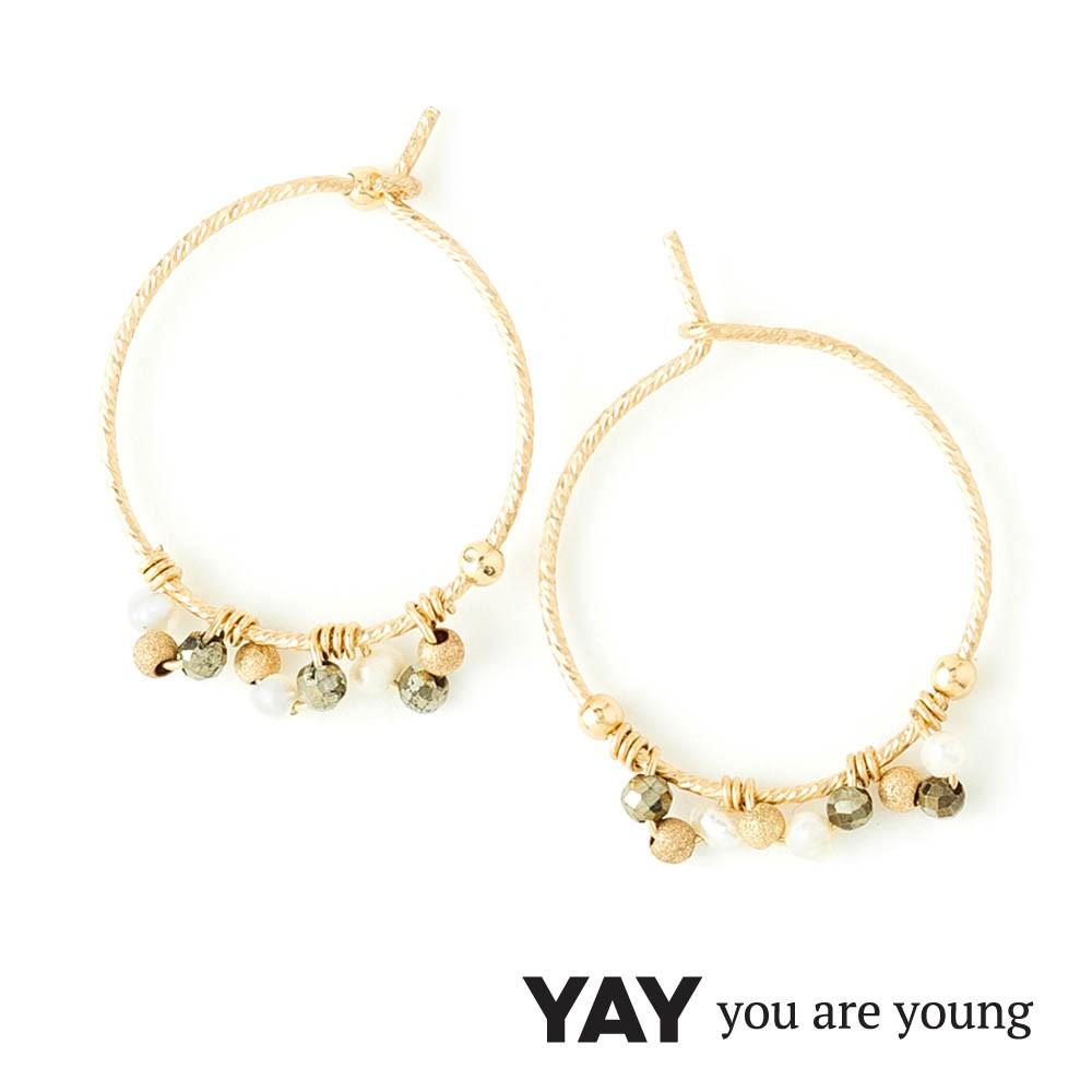 YAY You Are Young 法國品牌 寶石花束 經典圓耳環 白珍珠X星辰豆豆
