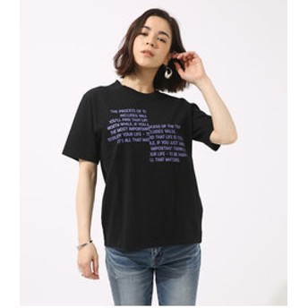 【AZUL by moussy:トップス】メッセージロゴTEE