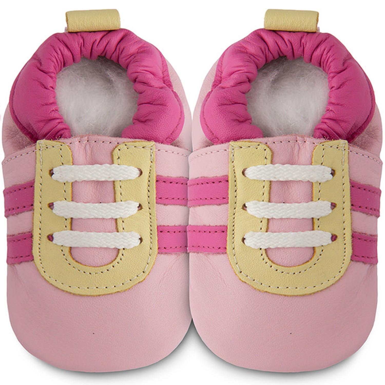 英國 shooshoos - 健康無毒真皮手工鞋/學步鞋/嬰兒鞋/室內鞋/室內保暖鞋-粉紅佳人