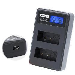 Kamera佳美能 液晶雙槽充電器 for Canon LP-E17 (一次充兩顆電池) 行動電源也能充