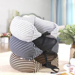 E-life-舒壓條紋旅行可收納連帽U型頸枕